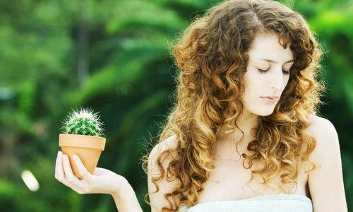 девушка с кактусом